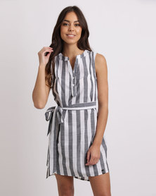 Crave Sleeveless Striped Cotton Tunic With Belt Grey