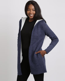 Crave Hooded Long Cardigan Navy