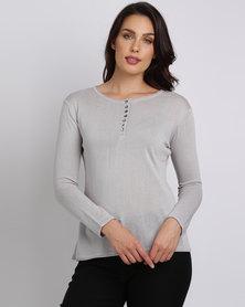 Crave Basic Knit Top Grey