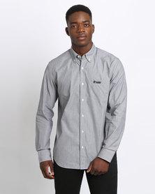 Crockett & Jones Long Sleeve Stripe Shirt Charcoal/Stone