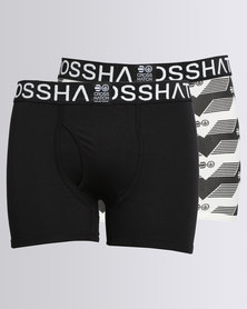 Crosshatch Pyramid 2 Pack Boxers White/Black