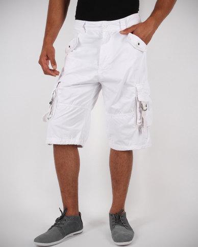 Crosshatch Poltruct Cargo Shorts White