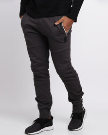 Crosshatch Underlined Panel Jogger Charcoal