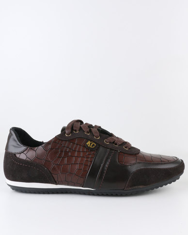 Crouch Casual Lace Up Sneaker Choc Brown