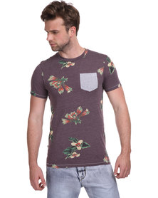 Cutty Jordan Floral Tee Burgundy