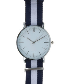 Digitime Nylon Classic Watch with Tape Strap Blue/White/Silver