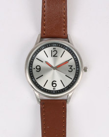 Digitime Dust Watch With Silver Case Brown