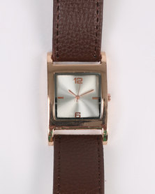 Digitime Times Square Dial With Strap Watch Brown