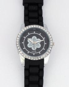 Digitime Floral Dial Strap Watch Black