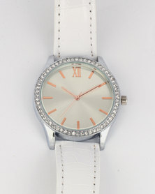 Digitime Pearl Ladies Watch With White Strap