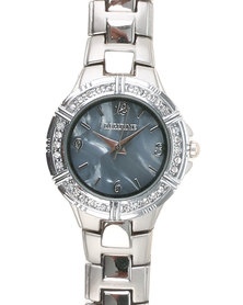 Digitime Tammy Watch With Marble Finish Face & Diamantes Silver-Tone