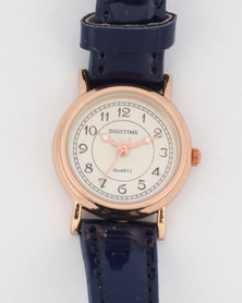 Digitime Spice Watch Navy/Rose Gold-tone