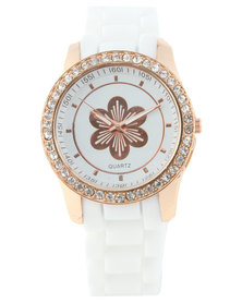 Digitime Rose Gold-Tone Floral Dial Diamante Watch White