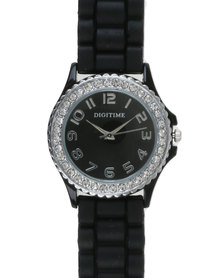 Digitime Electra Watch with Diamante Face Black