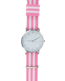 Digitime Nylon Classic Watch With Tape Strap Pink And White