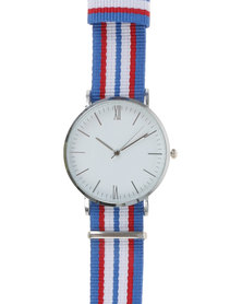 Digitime Nylon Classic Watch With Tape Strap Blue, Red and White