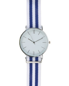 Digitime Nylon Classic Watch With Tape Strap Blue and White