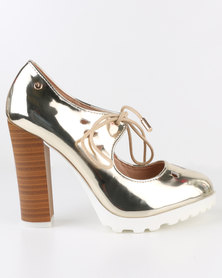 Dolce Vita Algarve Stack Heel Lazer Cut Court Shoe Gold