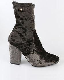 Dolce Vita Leeds Velvet Block Heel Ankle Boots Green
