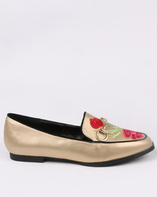 Dolce Vita Monza Embroidered Shoes Gold