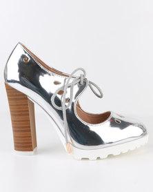 Dolce Vita Algarve Stack Heel Lazer Cut Court Shoe Silver
