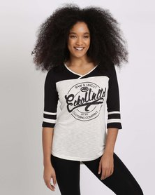 ECKÓ Unltd  V-Neck Raglan Colour Block Top Cream/Black