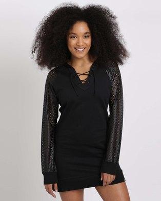 ECKÓ Unltd Cutout Hooded Dress Black