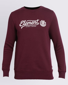 Element Future Script Crew Sweat Burgundy