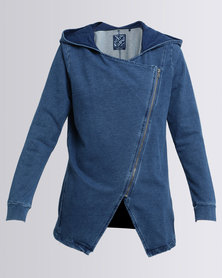 Elm Asymmetry Zip Thru Hoody Blue