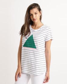 Elm Bermuda Short Sleeve T-Shirt White/Black Stripe