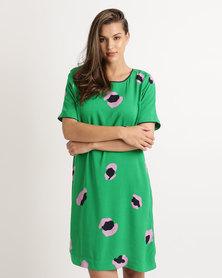 Elm Silhouette Shift Dress Yardage Print Green