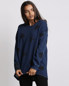 Elm Beautiful Chaos Crew Neck Jersey Navy