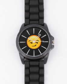 Emoji Smirk Watch Black