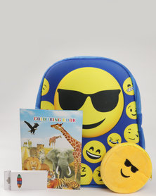 Emoji Boys Backpack Set with Purse, Crayons & Colouring Book Blue