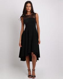 Erre Mesh Shoulder Fit & Flare Dress Black