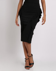 Erre Pencil Skirt With Ruffles Black