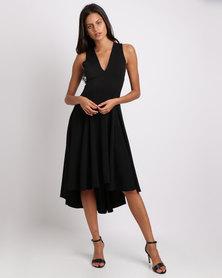 Erre V Neck Midi Fit & Flare Dress Black