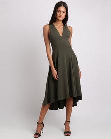 Erre V Neck Midi Fit & Flare Dress Olive