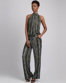 Eve Emporium Stripe Halterneck Jumpsuit Black/Olive