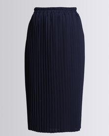 Eve Emporium Pleat Skirt Navy