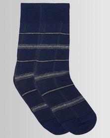Falke Grid Check Socks Dove Blue Depths