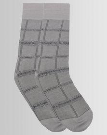 Falke Grid Check Socks Dove Grey