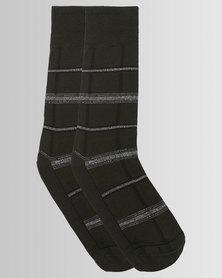 Falke Grid Check Socks Dove Olive