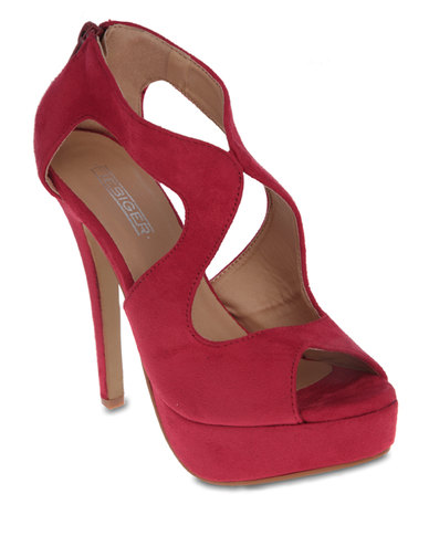 Fiebiger Shoes Aspen Platform Heels Dark Red