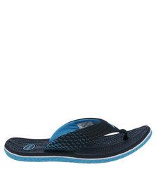 Floater Gus Printed Flat Toe Thong Sandal Navy /Blue