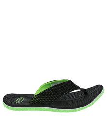 Floater Gus Printed Flat Toe Thong Sandal Black/Green