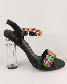 Footwork Shonda Embroidered Block Heel Sandal Black