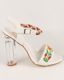 Footwork Shonda Embroidered Block Heel Sandal White
