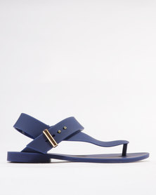 Footwork Cali Flat Jelly Toe Thong Sandals Navy