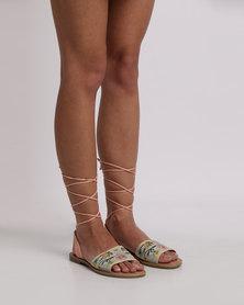 Footwork Missy Embroidered Flat Sandal Nude